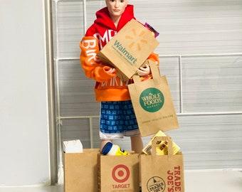 Dollhouse miniature supermarket shopping bag perfect for Barbie Ken 1/6 scale