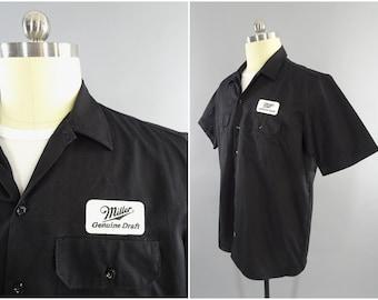 bbbe7303 Vintage Miller Genuine Draft Beer Patch, Delivery Truck Driver Mechanics Work  Shirt, Short Sleeve, Black Cotton Blend, Size XXL 48