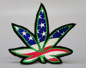 Medical Cannabis Leaf Patch Iron-On Embroidered Applique MMJ Dr Cross