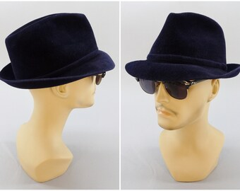 43f70a81dbcc3 1960 s Vintage Blue Purple Velvet Trilby Fedora Mad Men Dress Casual Hat by  Resistol for Lipman s Mens Cellar