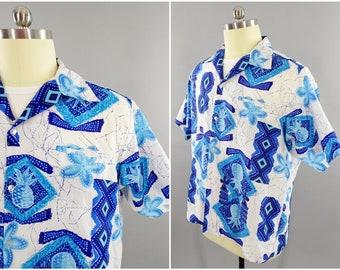 4721f1235 1970s Vintage Tropicana Hawaiian Aloha Shirt with Geometric Blue Hawaii  Pineapple and Hibiscus Flower Pattern, Size XXL 52