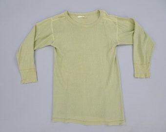 233378848c Original WW2 Vintage US Army GI Thermal Long Underwear Cotton Sweatshirt  Top, Olive Drab OD Green Long Johns, Size Small 36-38