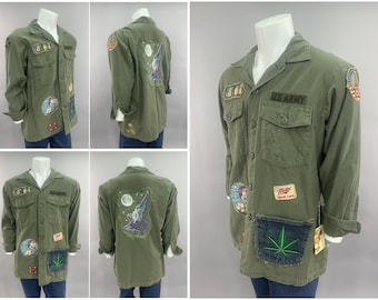 1970s Vintage US Army GI Fatigue Shirt Jacket, Vietnam War Counter Culture 70s Hippy Patches, Peace Symbol Gnome on Shroom & Pot Leaf Pocket