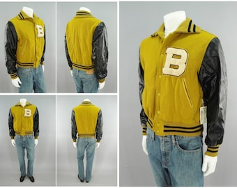 """1950s Vintage Naugalite Varsity Letterman Jacket with Chenille Letter B, Yellow & Black, Taylored by Hatchers of Beverly, MASS, Size M 40"""""""
