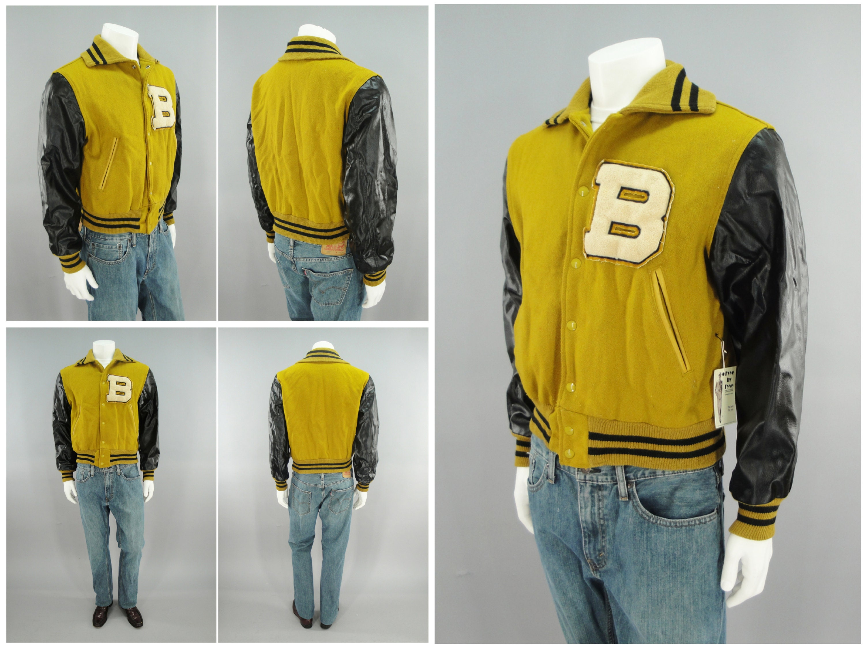 1950s Mens Hats | 50s Vintage Men's Hats 1950S Vintage Naugalite Varsity Letterman Jacket With Chenille Letter B, Yellow  Black, Taylored By Hatchers Of Beverly, Mass, Size M 40 $0.00 AT vintagedancer.com