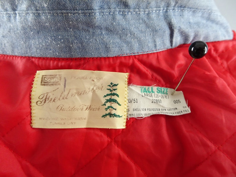 Red Quilted Nylon Liner 1960s Vintage Blatz Beer Pale Blue Cotton Denim Shirt Jacket by Sears Fieldmaster Rockabilly Style Size XL 44-46
