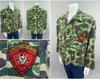 Vietnam War Vintage Camouflage Jacket with 3rd Reconnaissance Battalion Patch, Mens Size XXL USMC Recon Jungle Camo Military Hunting Shirt