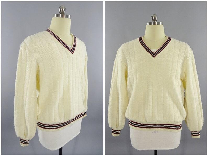 54bb491ba2 1980s Vintage Sears Sportswear Mens V-Neck Preppy Tennis Sweater, Super  Soft Orlon Acrylic, Size M 42 Made in Korea, Striped Collar and Cuff
