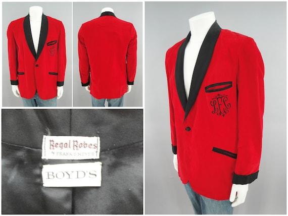 Vintage 1960s Satin Red Velvet Smoking Jacket by R