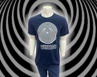 Vertigo Swirl Record Label Crew Neck Tee Shirt, Mens Size Large, Blue Cotton, 1970s Vintage Classic Rock & Prog Record Collector T-Shirt