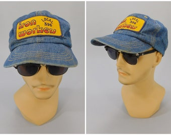 1970's Vintage Iron Workers Local 396 Denim Snap Back Baseball Cap Made in USA St. Louis MO Union Labor Size 6-5/8 to 7-5/8