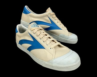 1980s Vintage USA Olympics JC Penny Tennis Shoes White Canvas Low Top Sneakers with Blue Arrow Mens Size Mens 13 Style 101-23 Mint Condition
