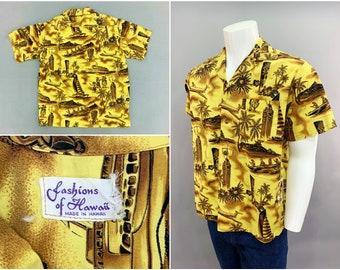 Vintage Yellow Hawaiian Aloha Shirt by Fashions of Hawaii, True 1950s 1960s Island Style with Jet Airliner, Outrigger & Sailboat, Size 42-44