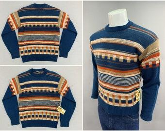 1970s Vintage Block Print Sweater, Manskins by Forum Brand, 100% Orlon Acylic, Classic 70s - 80s Style Mens Ski Fashion, Size Small 36