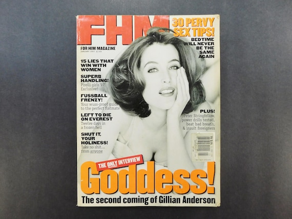 1990s Vintage / FHM Magazine / For Him Magazine / February 1997 / Gillian  Anderson / Storm Watch / British Mens Magazine / 90s Fashion