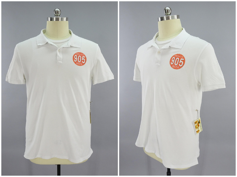 1970s Mens Shirt Styles – Vintage 70s Shirts for Guys 905 Beer White Polo Golf Tennis Casual Shirt, Retail Store Uniform, 1960S 1970S 1980S Vintage St. Louis Missouri Classic Mens Size Medium 42 $0.00 AT vintagedancer.com