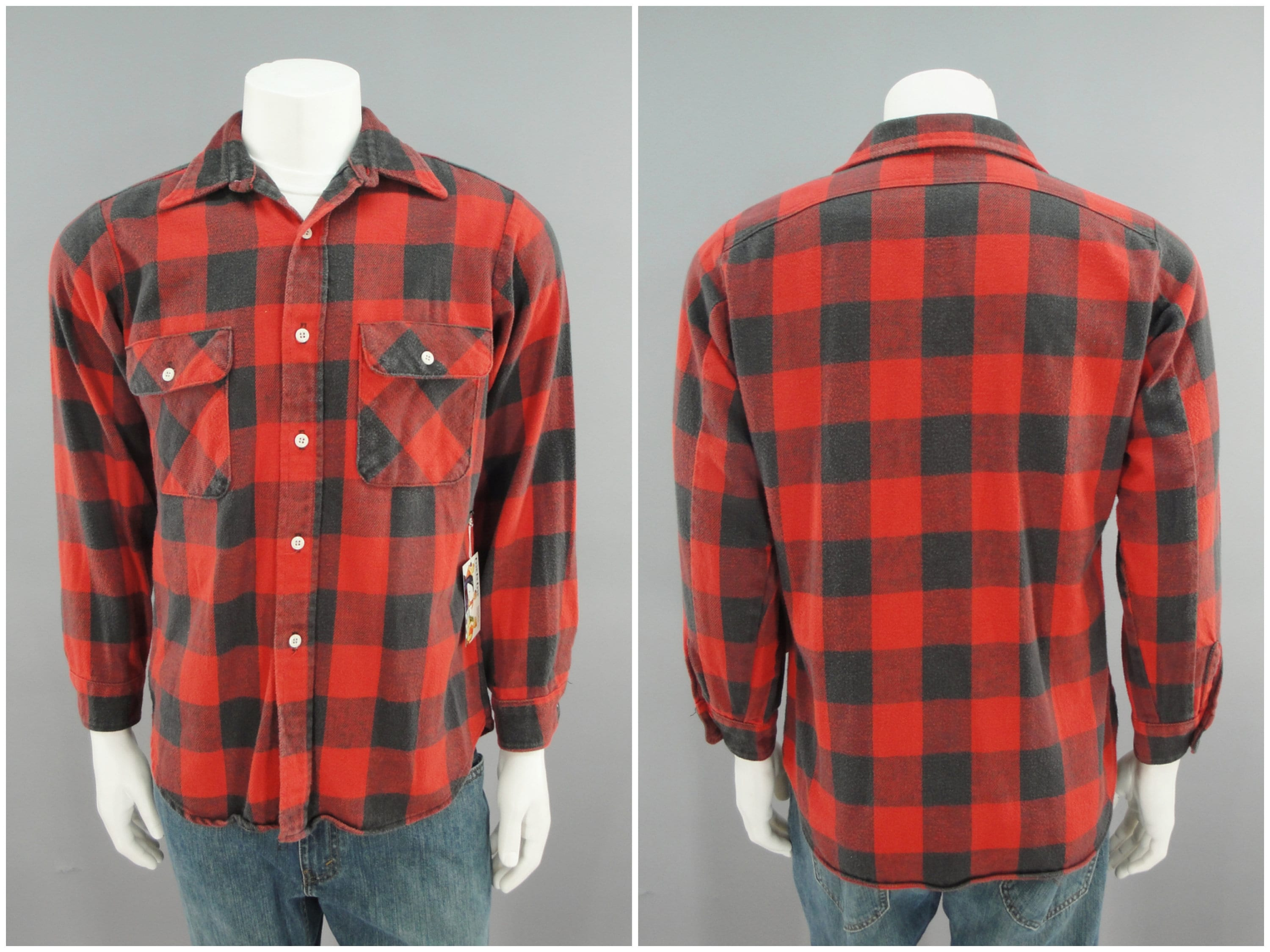 1970s Mens Shirt Styles – Vintage 70s Shirts for Guys 1970S Vintage Traditional Red  Black Buffalo Plaid Cotton Flannel By Big Yank, Hippie Grunge Style, 70S Mens Size Medium, 42 $0.00 AT vintagedancer.com