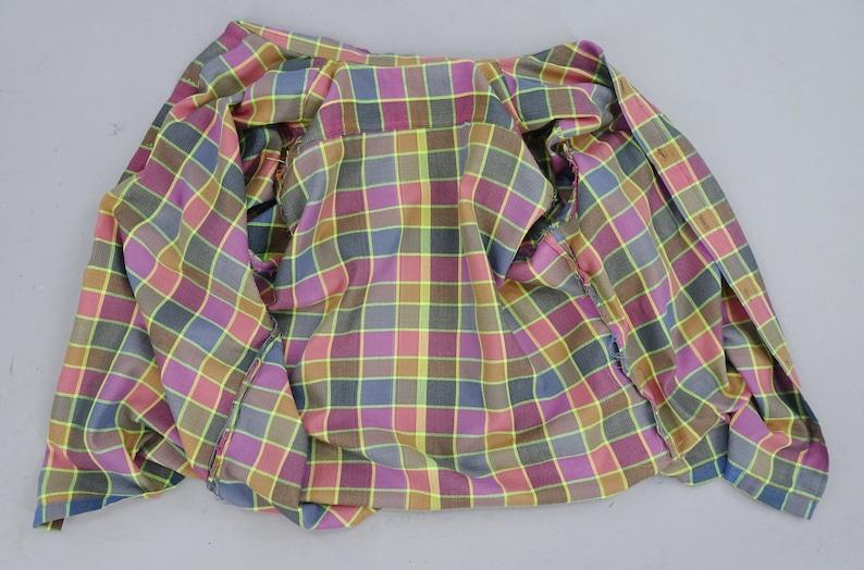Nice Shirt! 1960s Vintage Mens Purple Plaid Casual Shirt Home Sewn Short Sleeve Multicolor Squares Soft Cotton Preppy Look Size L 42-44