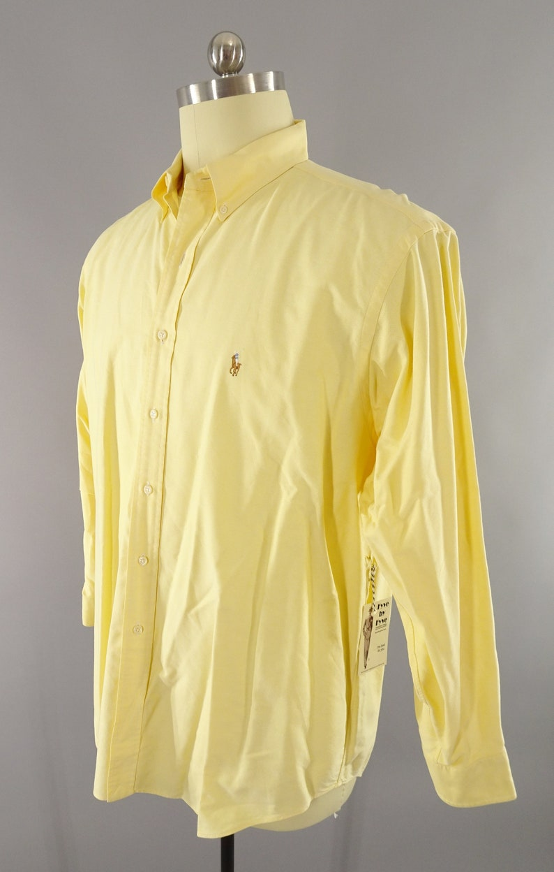 1980s Country Club Wall Street Preppy Look Vintage Long Sleeve Pale Pastel Yellow Button Down Casual Dress Shirt by Polo Size XXL 50