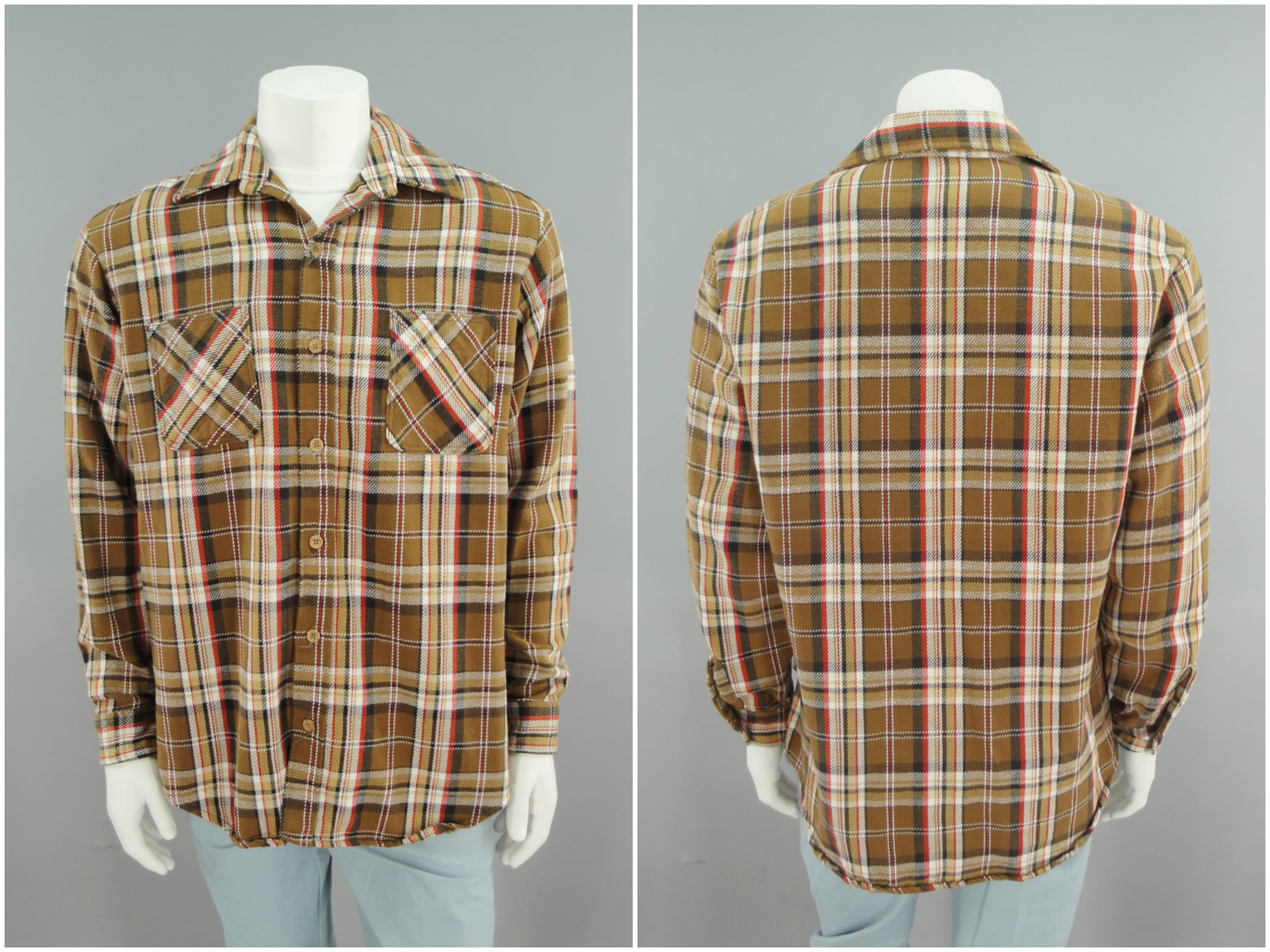 1970s Mens Shirt Styles – Vintage 70s Shirts for Guys Mens Traditional Brown Plaid Flannel Western Shirt By Big Mac For Jc Penney, 1970S 80S Vintage Soft Cotton, Hippie Grunge Style Size Xl 46 $0.00 AT vintagedancer.com
