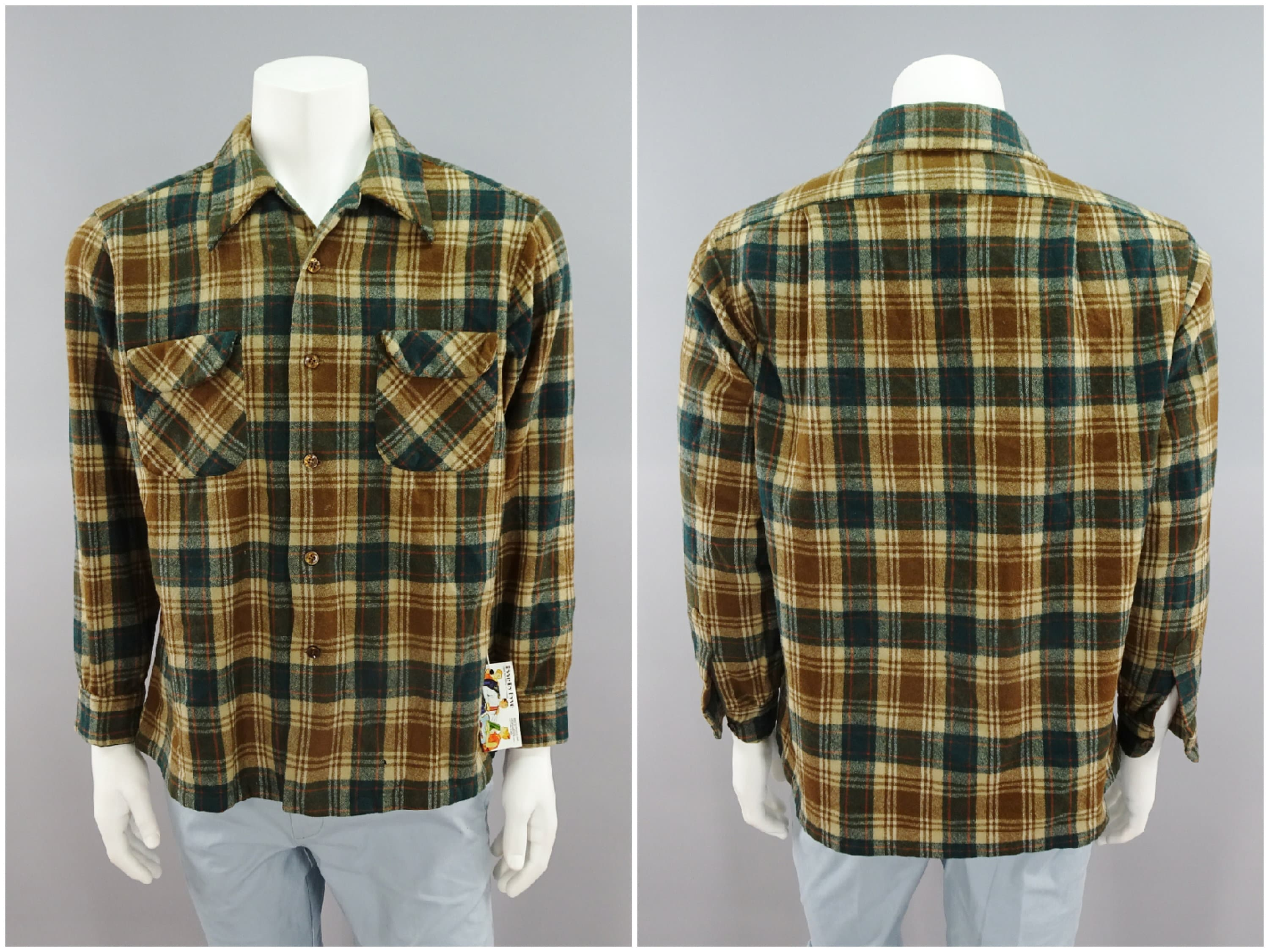 1960s – 70s Men's Ties | Skinny Ties, Slim Ties Mens Traditional Wool Plaid Flannel By Pendleton 1960S Vintage GreenBrown Farmer Country Cowboy Shirt Size Xl 46 With Rayon Neck Liner $0.00 AT vintagedancer.com