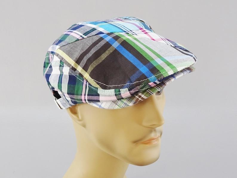 24bc11ce6 Blue Madras Plaid Flat Driving Golf Cap, 100% Cotton, Paisley Liner, One  Size, Belt Adjust, Light Summer Weight