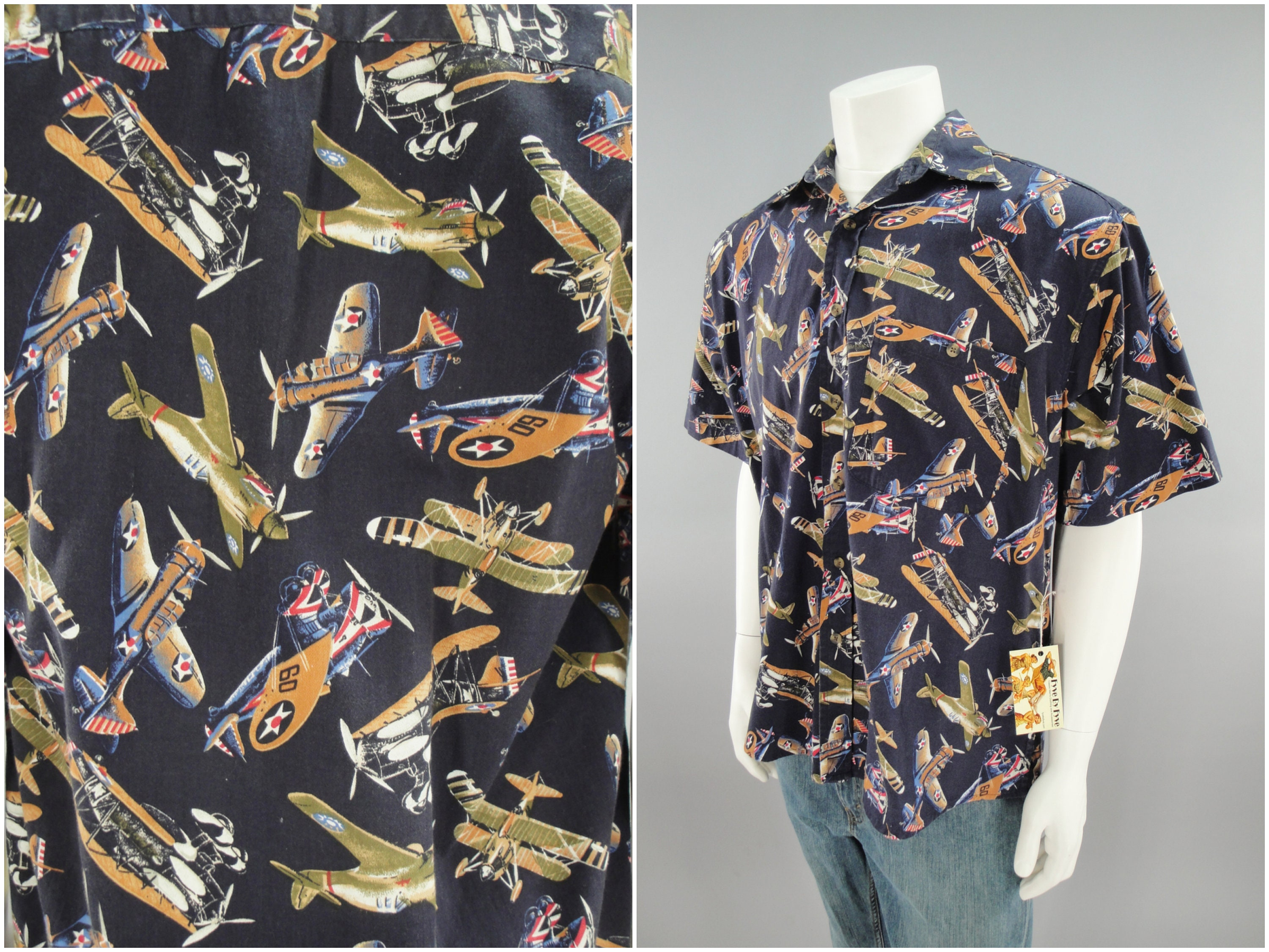 1940s Men's Shirts, Sweaters, Vests Smithsonian Ww2 Vintage Warbirds Hawaiian Style Shirt, Mens Size Xl 46, Classic 1930S - 1940S Aviation Theme Aircraft Casual Lounge Shirt $0.00 AT vintagedancer.com