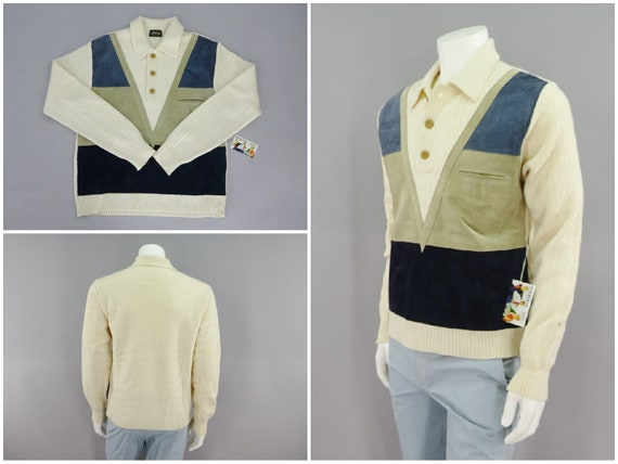 Mens Mod Preppy Style Suede Patch Cardigan Pullove