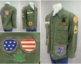 1970s Vintage US Army GI Fatigue Shirt Jacket with Rolling Stones Hang Loose Vietnam War Counter Culture Pot Leaf Hippy Hippie Freak Patches