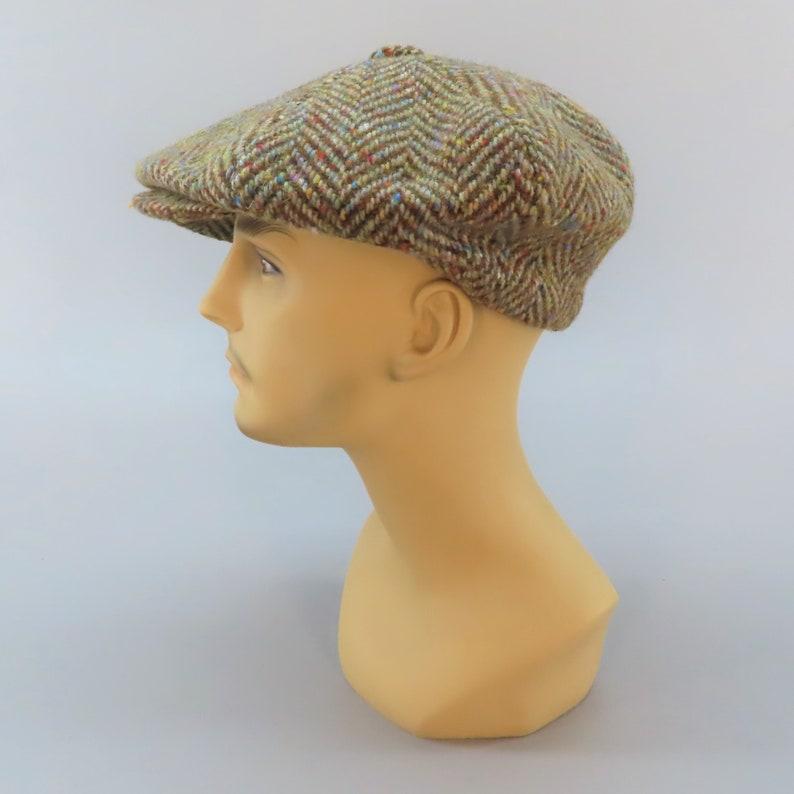 100/% Wool Mens Size Small 6-78 Vintage Newsboy Style 8-Panel Cabbie Cap Made in Ireland by Johnathon Richard Confetti Gray Harris Tweed
