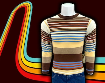 Original 1970s Vintage GAP Stiped Long Sleeve Tee Shirt, Super Retro 70s Style Earth Tone Stripes, Mens Size Extra Small Crew Neck Pullover