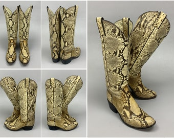 Justin Snakeskin Cowboy Boots Style L 4519, Full Python Belly 1980s Vintage Rock Star Style Genuine Snake Skin Leather Boots, Womens Size 7B