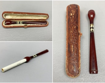 19th Century German Red Amber Cigarette Holder With Case, Harlequin Band, Velvet Lined, Red Leather Wrapped Casket