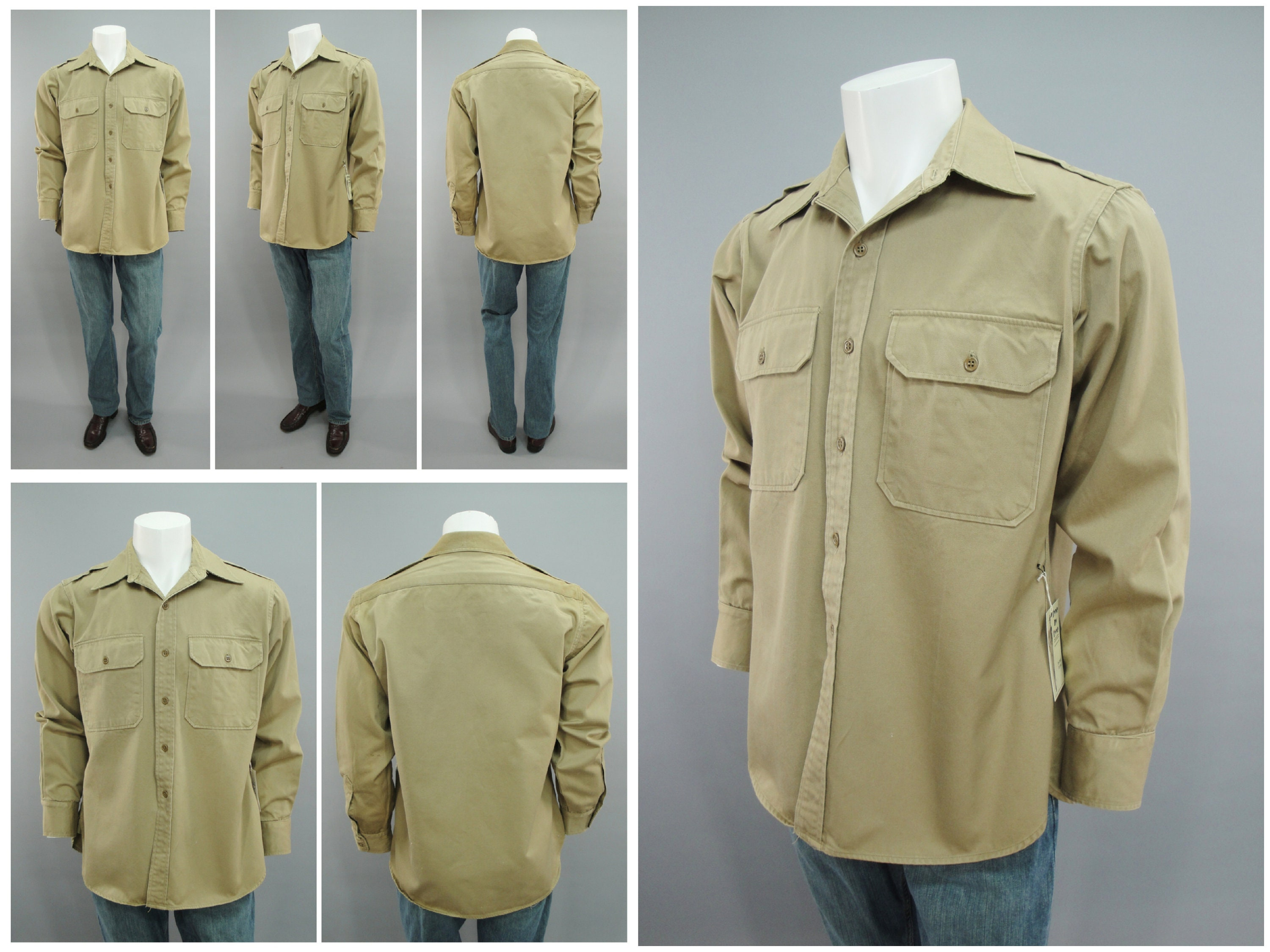 1940s Men's Shirts, Sweaters, Vests 1940S Original Ww2 Vintage Us Army Tropical Service Khaki Cotton Tan Canvas Fawn Gi Uniform Shirt With Epaulettes, Mens Size Large 44 $0.00 AT vintagedancer.com