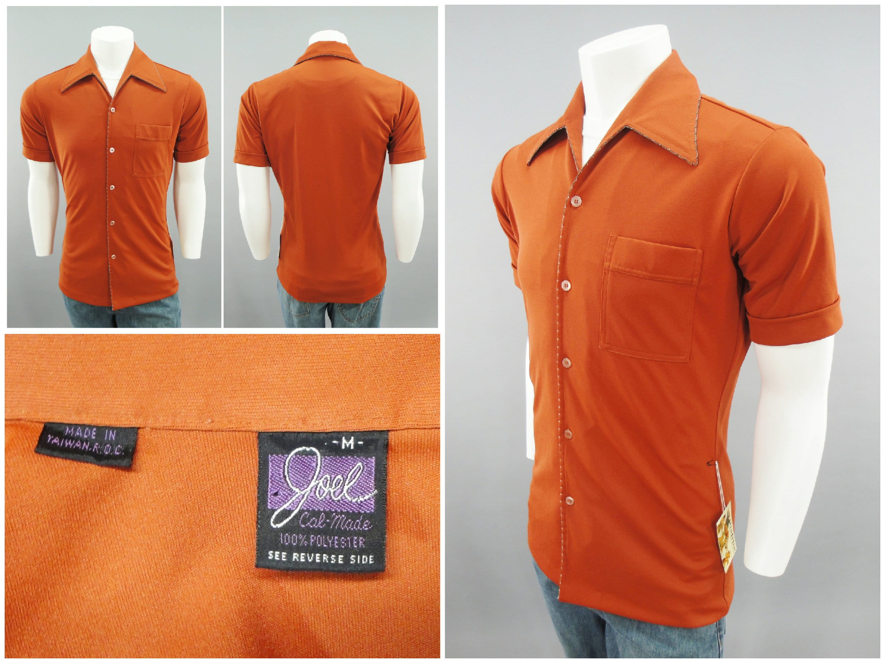 1970s Mens Shirt Styles – Vintage 70s Shirts for Guys 1970S Vintage Short Sleeve Polyester Stretch Fit Disco Casual Shirt With Orange Piped Fly Collar By Joel Cal-Made, Mens Size Xs 34-36 $0.00 AT vintagedancer.com