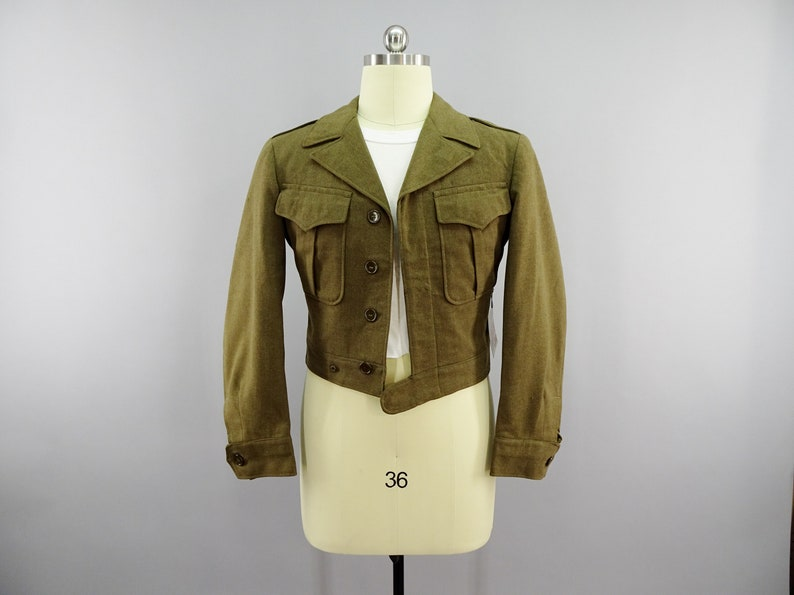 WW2 US Army Waist Length Ike Jacket GI Green Officers or Enlisted Men's  Uniform Jacket, Original 1940s Vintage for Reenacting Size 36R Small