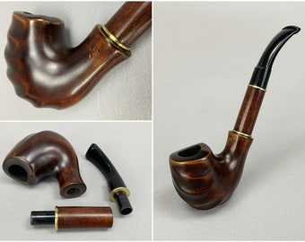 """Hand Carved Bent Pipe for Smoking Tobacco, Never Smoked, Measures 7"""" Long, 2pc Stem, Comfortably Grooved Bowl, Nice Finish, Signed by Maker"""