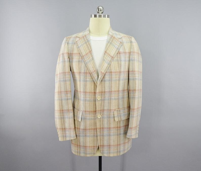 1960s 1970s Vintage Pale Plaid Blazer By Stanley Blacker Etsy