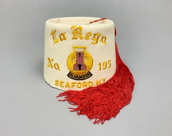 Vintage Knights of Columbus White Fez with Long Red Tassel, La Rega No. 195, Seaford, NY Alhambra by Harry M. Osers Size Small 6 7/8