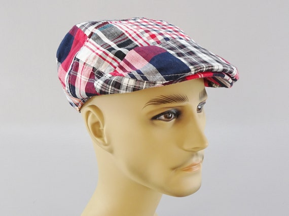 5e3952aa3 Red Madras Plaid Flat Driving Golf Cap, 100% Cotton, Paisley Liner, Elastic  Adjust fits Small to Medium, Light Summer Weight
