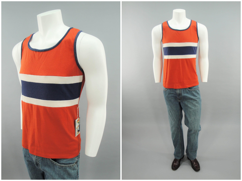 1970s Mens Shirt Styles – Vintage 70s Shirts for Guys 1970S 1980S Vintage Jantzen Striped Tank Top Orange  Blue Sleeveless Muscle Beach Shirt 70s 80S Macho Man Mens Size Small - Medium $0.00 AT vintagedancer.com
