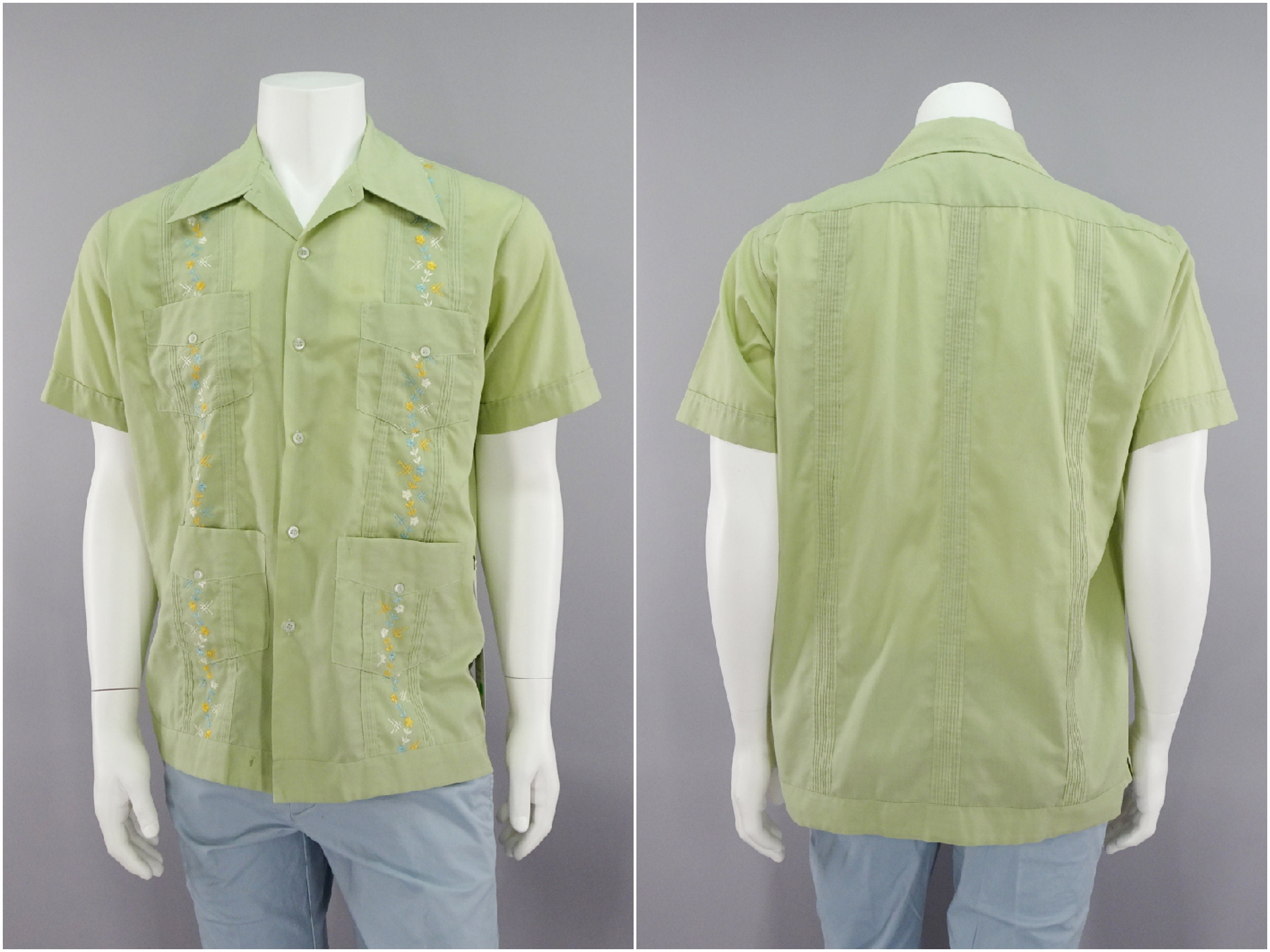 1960s – 70s Men's Ties | Skinny Ties, Slim Ties 1960S Vintage Green Guayaberas Shirt Tiki Lounge Wear Embroidered Floral Guayabera Style Short Sleeve Casual in Mens Size Large 44 $0.00 AT vintagedancer.com