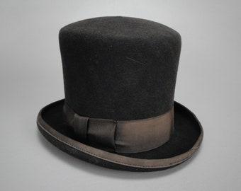 Vintage Copperfield Top Hat, Black Fur Felt Stovepipe Hat, 1920s - 1930s Era, Steampunk, Victorian Style Antique Mens Dress Hat, Size