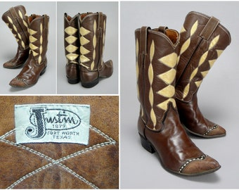 1960s Vintage Justin Cowboy Boots Style 8523 , Custom Made Brown Leather with Fancy Gold Painted Shafts & Lizard Cap Toe, Womens Size 6.5B
