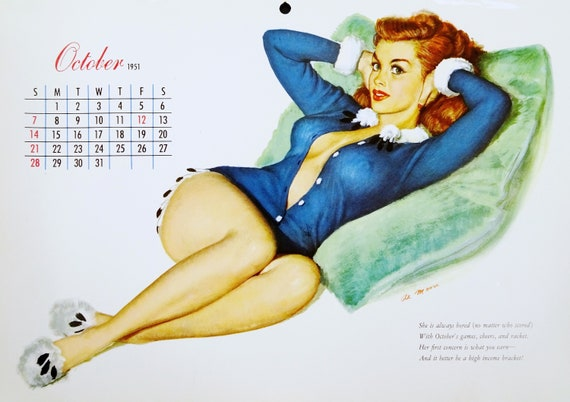 9x12 Haired Girl Blue Pin Moore In Page Original UpAuburn Sexy Pajamas Vintage Pinup ArtOctober Esquire 1950s Al 1951 Calendar Jc3TlKF1