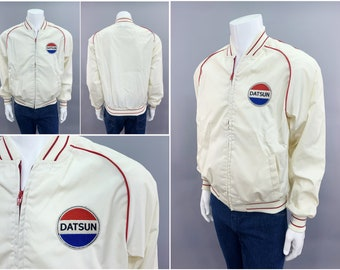 """1970s Vintage DATSUN Racing Pin Stripe Jacket by Swingster, Mens Size Large 44"""", 70s Style White Canvas Windbreaker, Made in USA"""