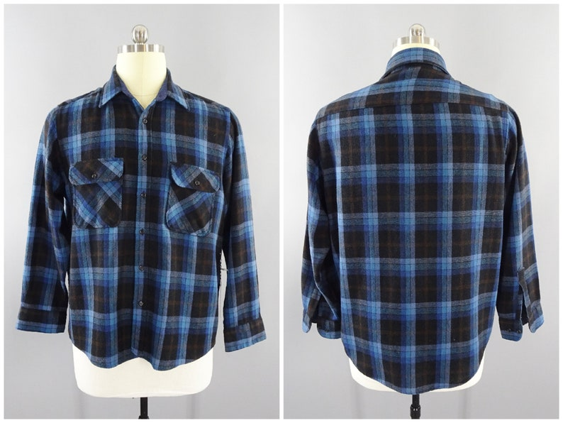 28605d872 1970s Vintage Dark Blue Plaid Flannel Shirt by Sears Roebuck & Co., Wool  Blend, High Quality, Size Large 44