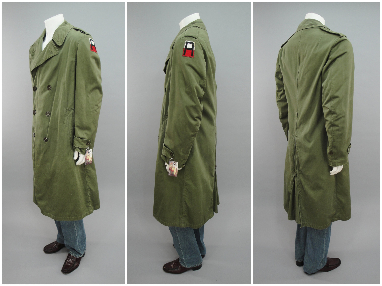 1950s Mens Hats | 50s Vintage Men's Hats Us Army Overcoat Trench Coat With 1st Shoulder Patch  Full Liner, Mens Size MediumLong 40 Korean War 1950S Vintage 1953 Mfg Date $0.00 AT vintagedancer.com