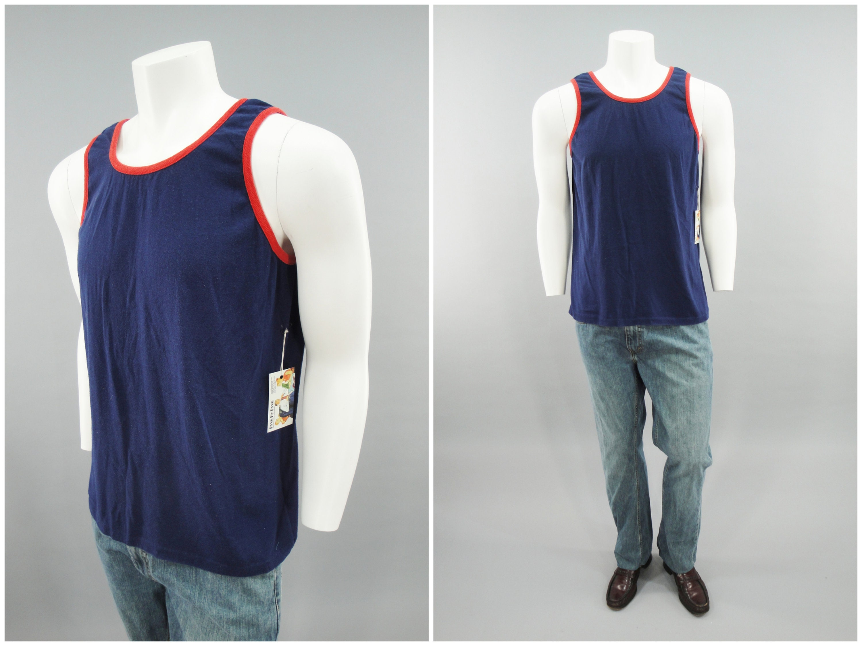 1970s Mens Shirt Styles – Vintage 70s Shirts for Guys 1970S 1980S Vintage Blue Tank Top With Red Piping, Sleeveless Muscle Beach Shirt, True Original 70s Macho Man, Mens Size Small - Medium $0.00 AT vintagedancer.com