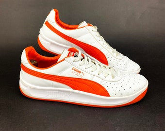 Puma GV Special Leather Sneakers, Retro 80s Vintage Style, White Leather with Orange Accents, Mens Size 11.5